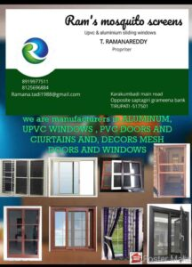 Aluminum frame with stainless steel mesh windows and doors available